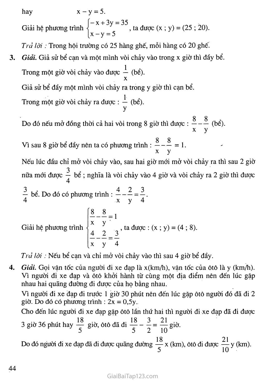 Bài 5. Giải bài toán bằng cách lập hệ phương trình trang 9