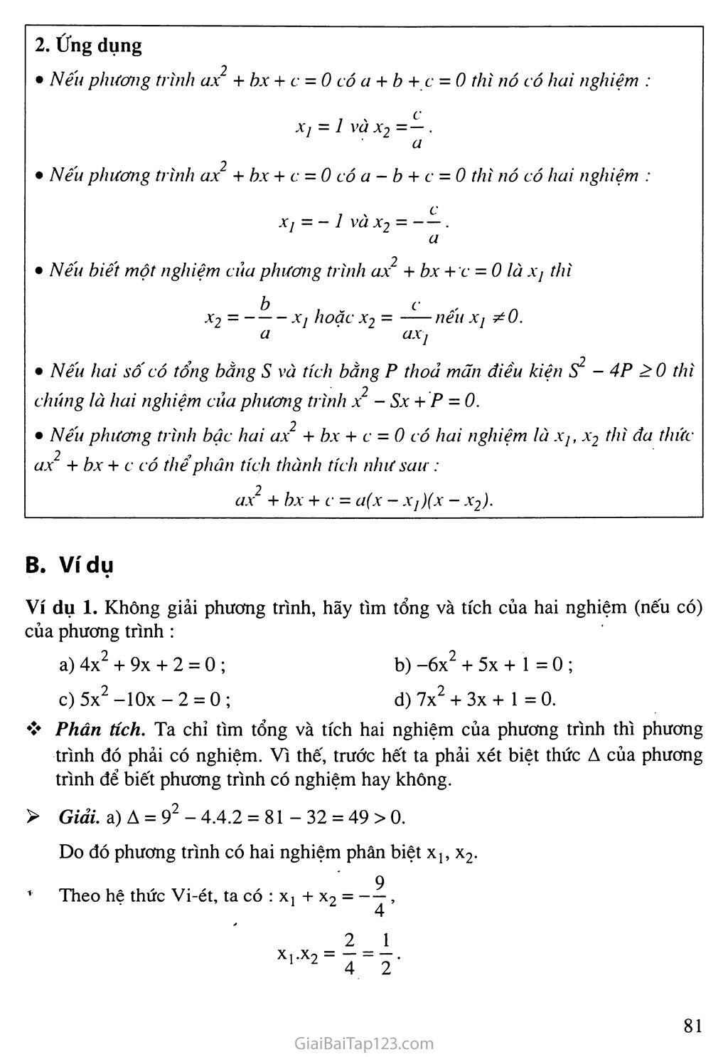 Bài 6. Hệ thức Vi-ét và ứng dụng trang 2