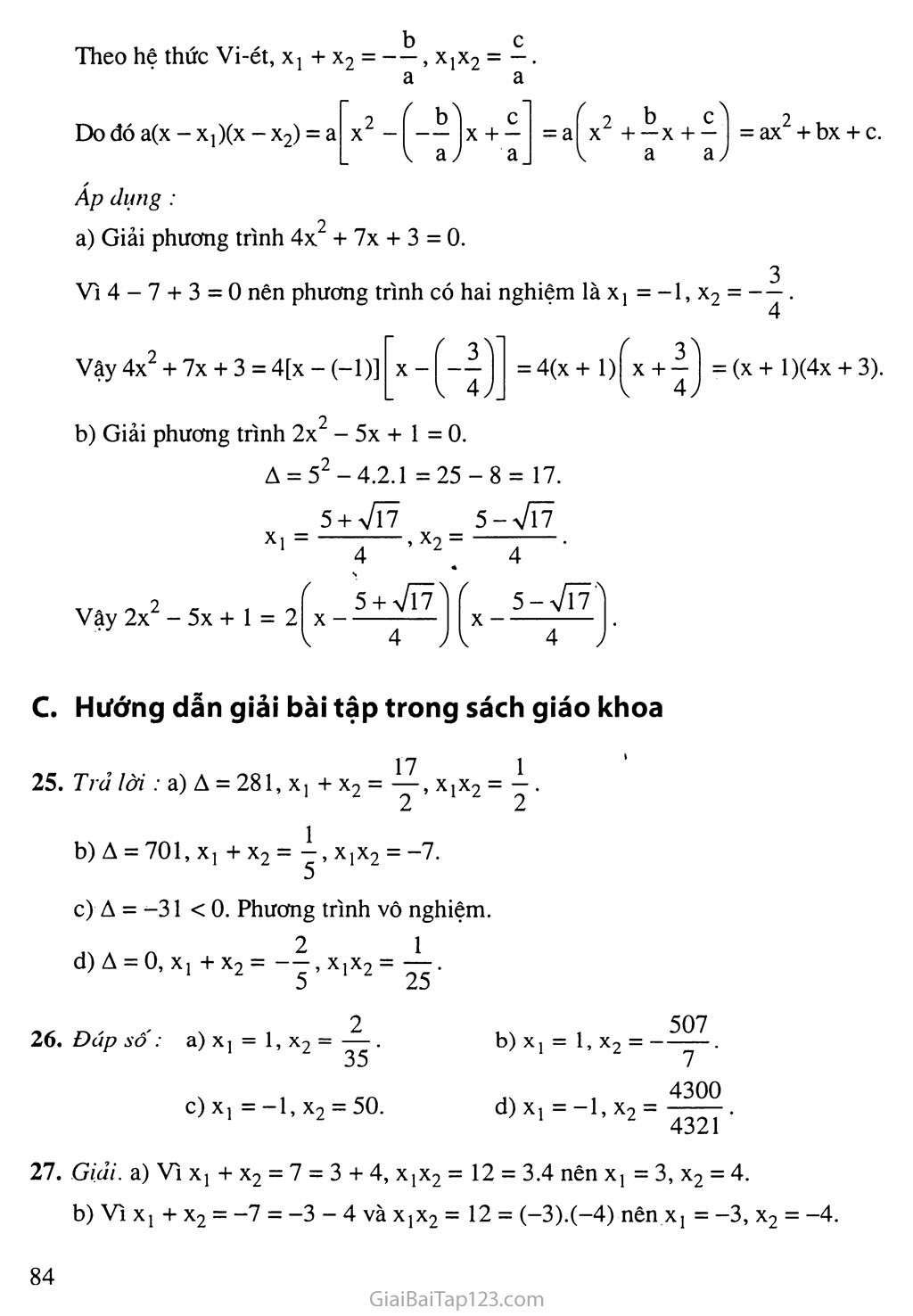 Bài 6. Hệ thức Vi-ét và ứng dụng trang 5