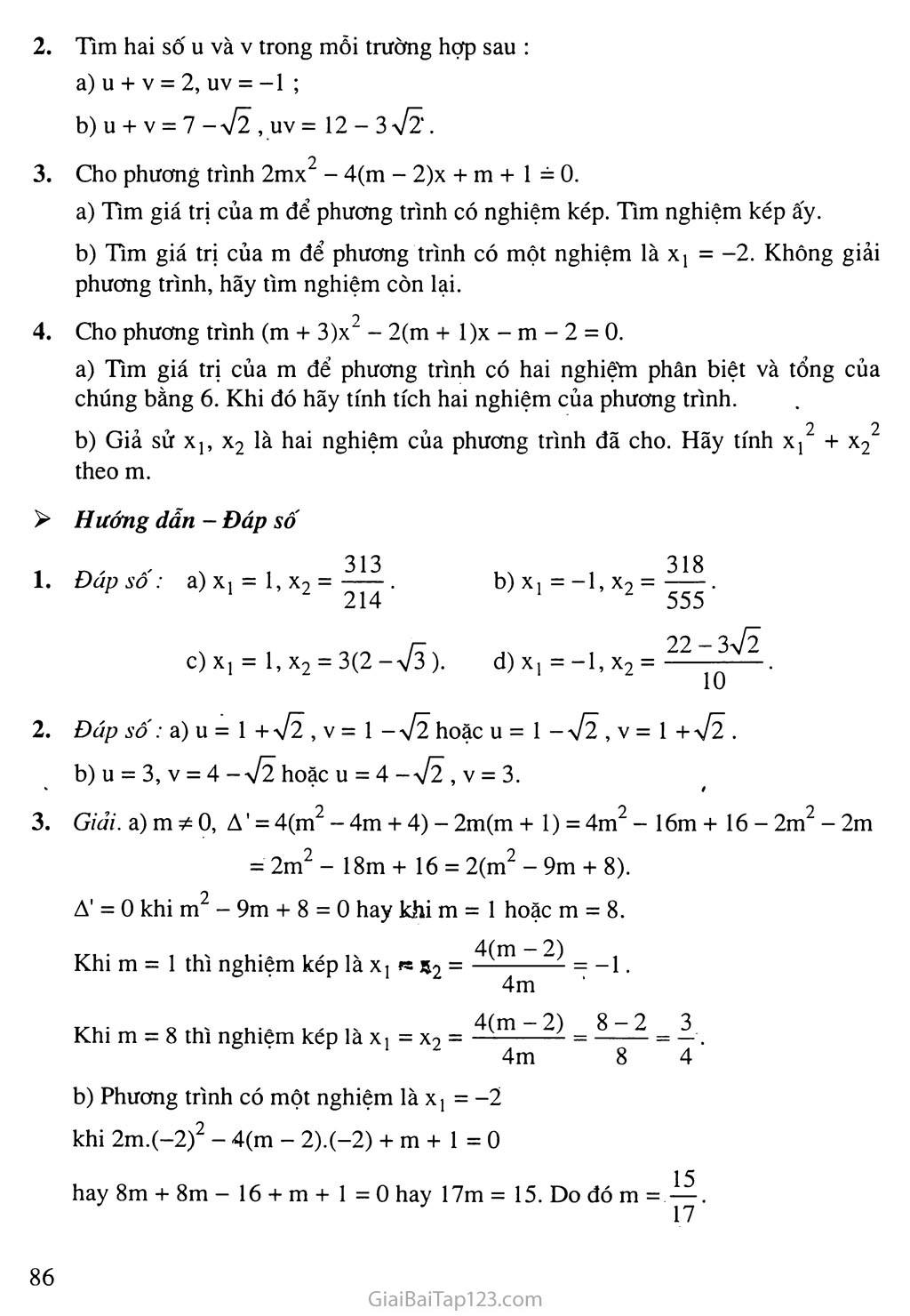 Bài 6. Hệ thức Vi-ét và ứng dụng trang 7