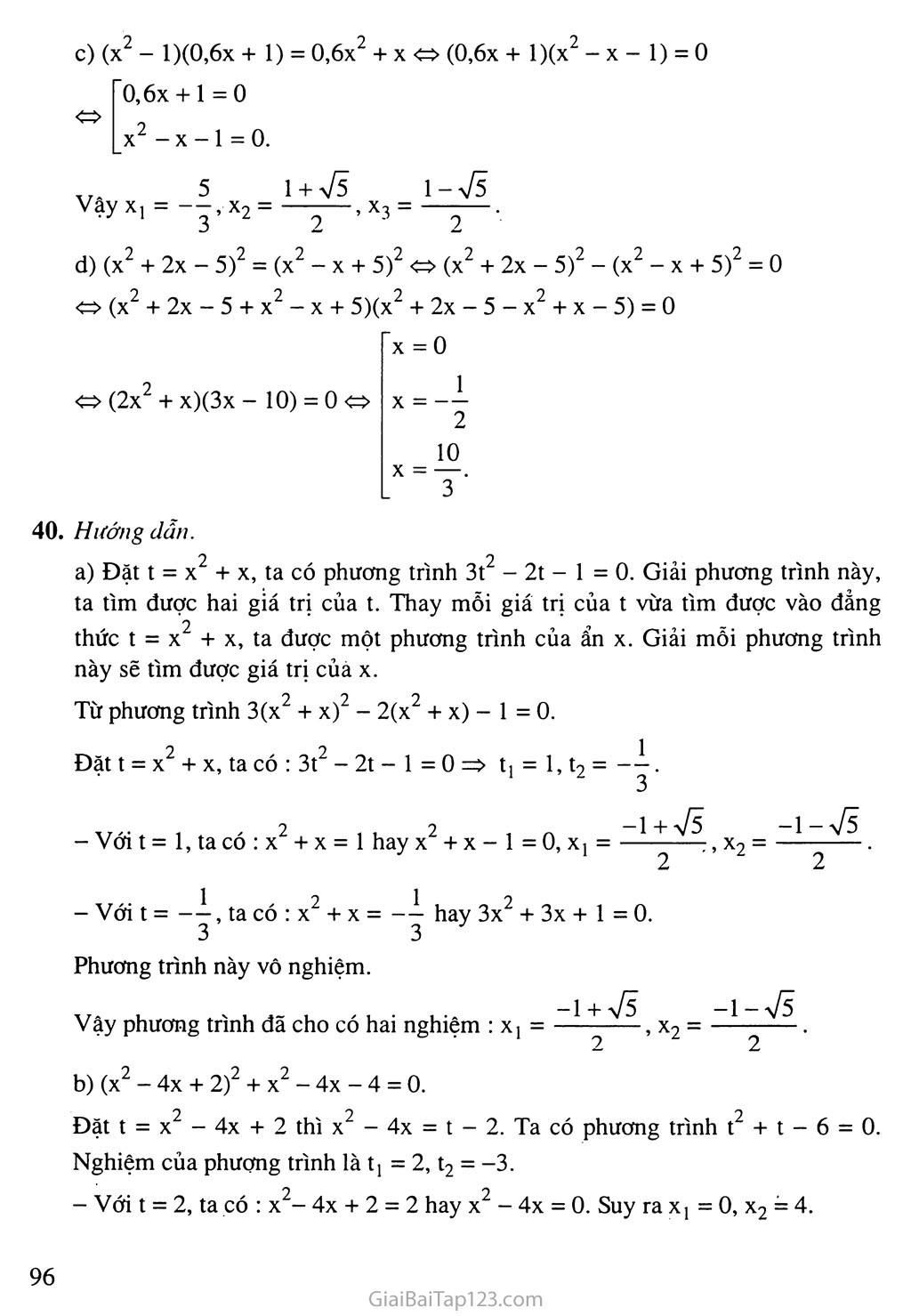 Bài 7. Phương trình quy về phương trình bậc hai trang 10