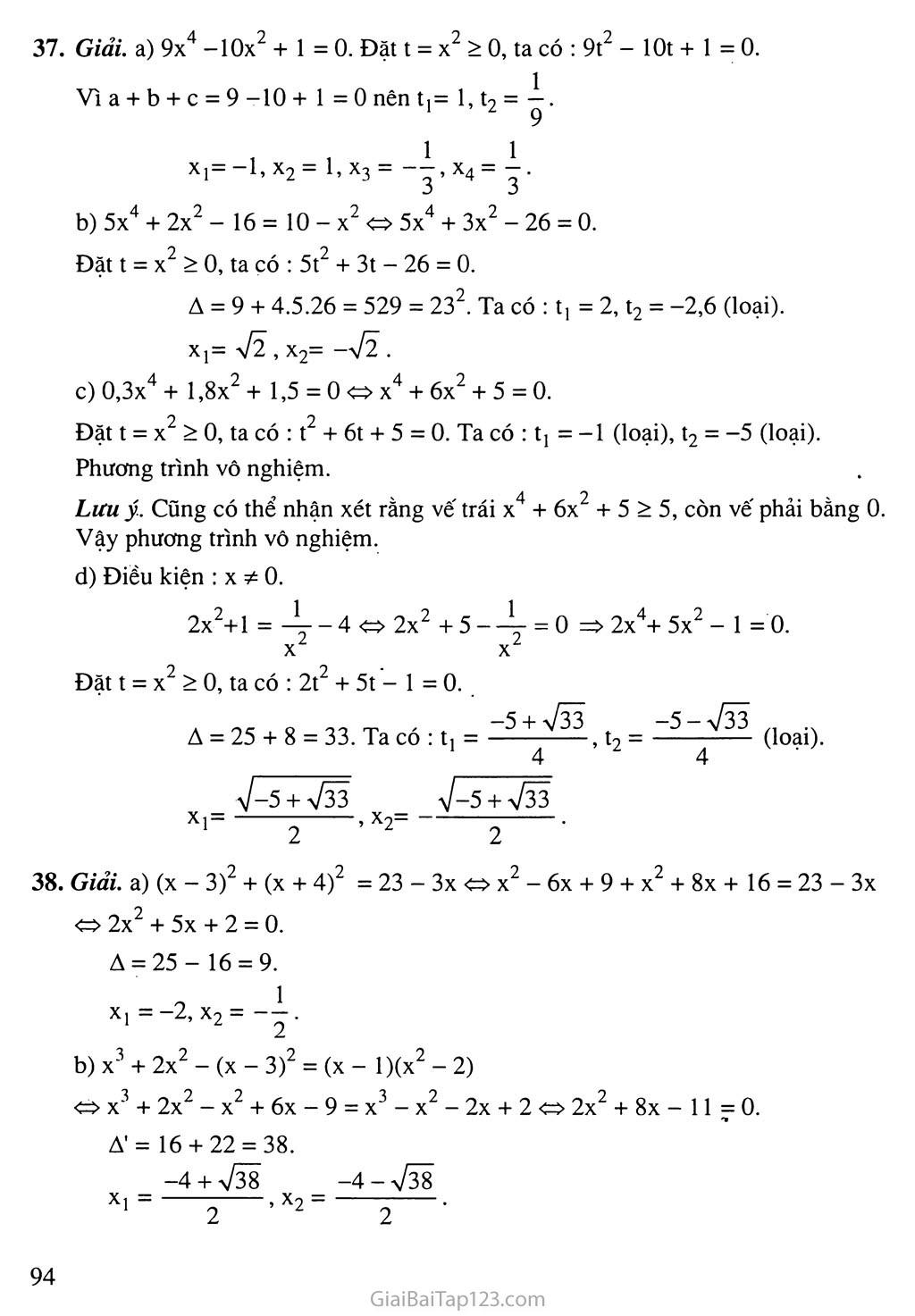 Bài 7. Phương trình quy về phương trình bậc hai trang 8
