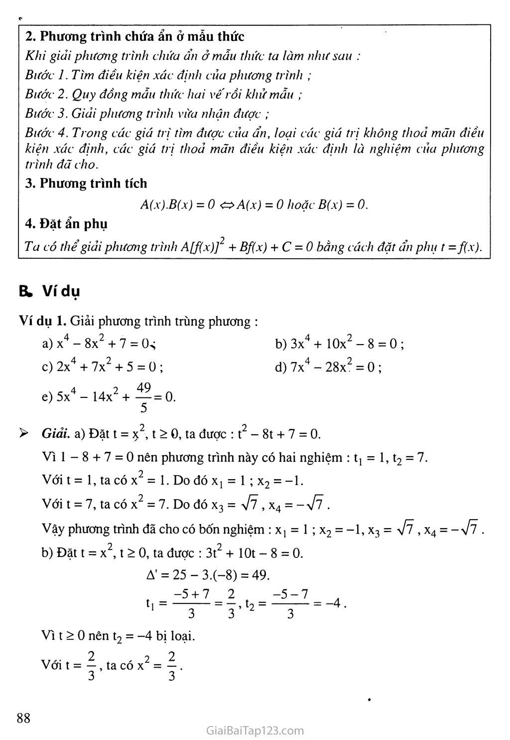 Bài 7. Phương trình quy về phương trình bậc hai trang 2