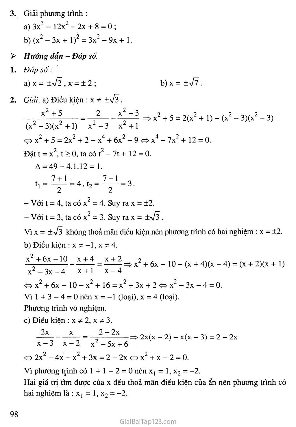 Bài 7. Phương trình quy về phương trình bậc hai trang 12