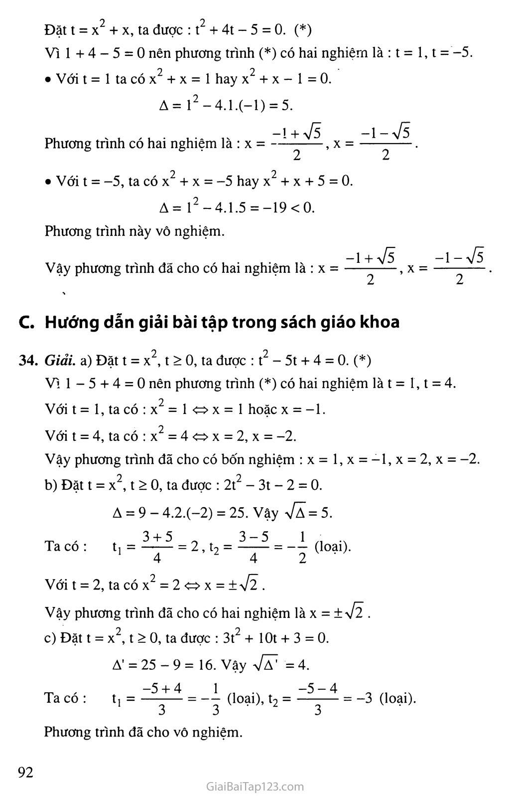 Bài 7. Phương trình quy về phương trình bậc hai trang 6