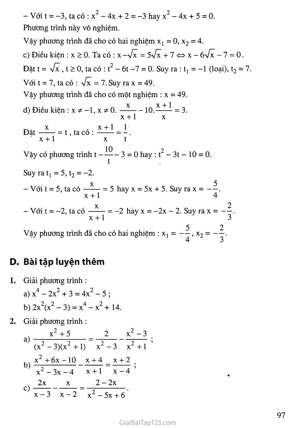 Bài 7. Phương trình quy về phương trình bậc hai trang 11