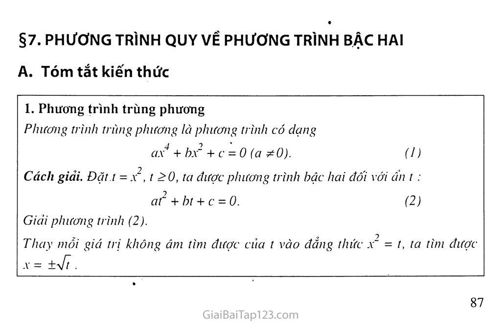 Bài 7. Phương trình quy về phương trình bậc hai trang 1