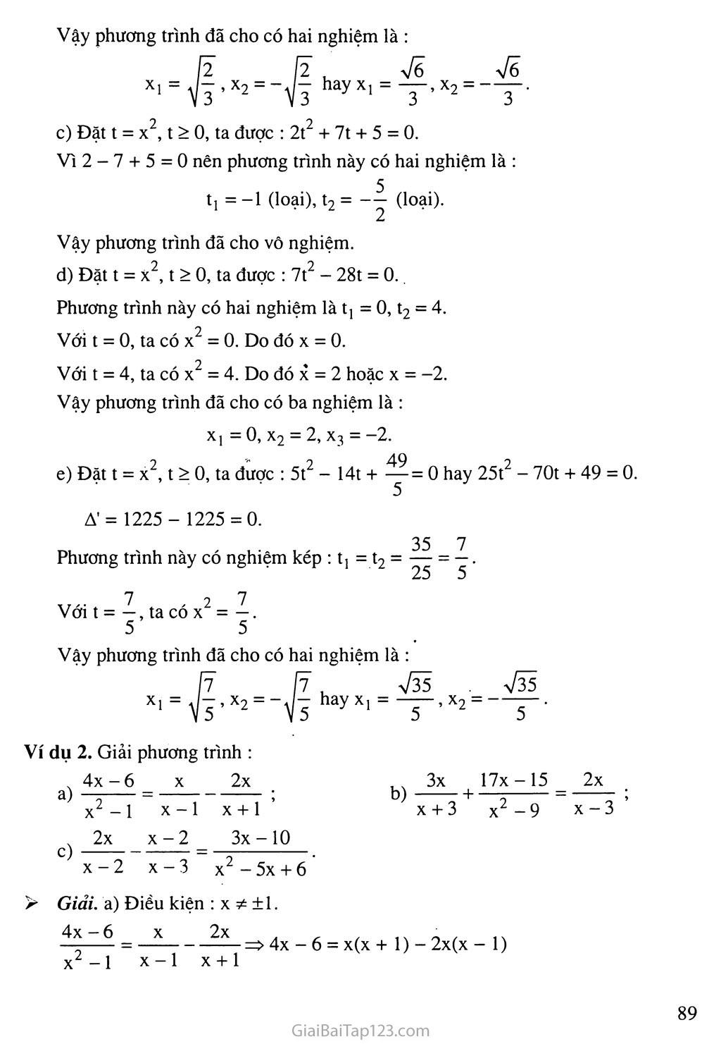 Bài 7. Phương trình quy về phương trình bậc hai trang 3