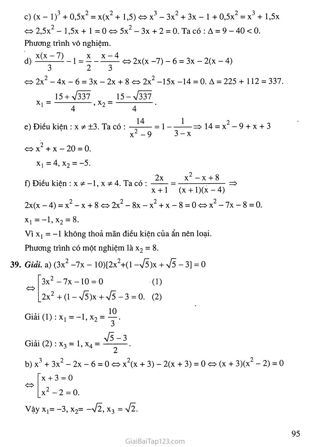 Bài 7. Phương trình quy về phương trình bậc hai trang 9