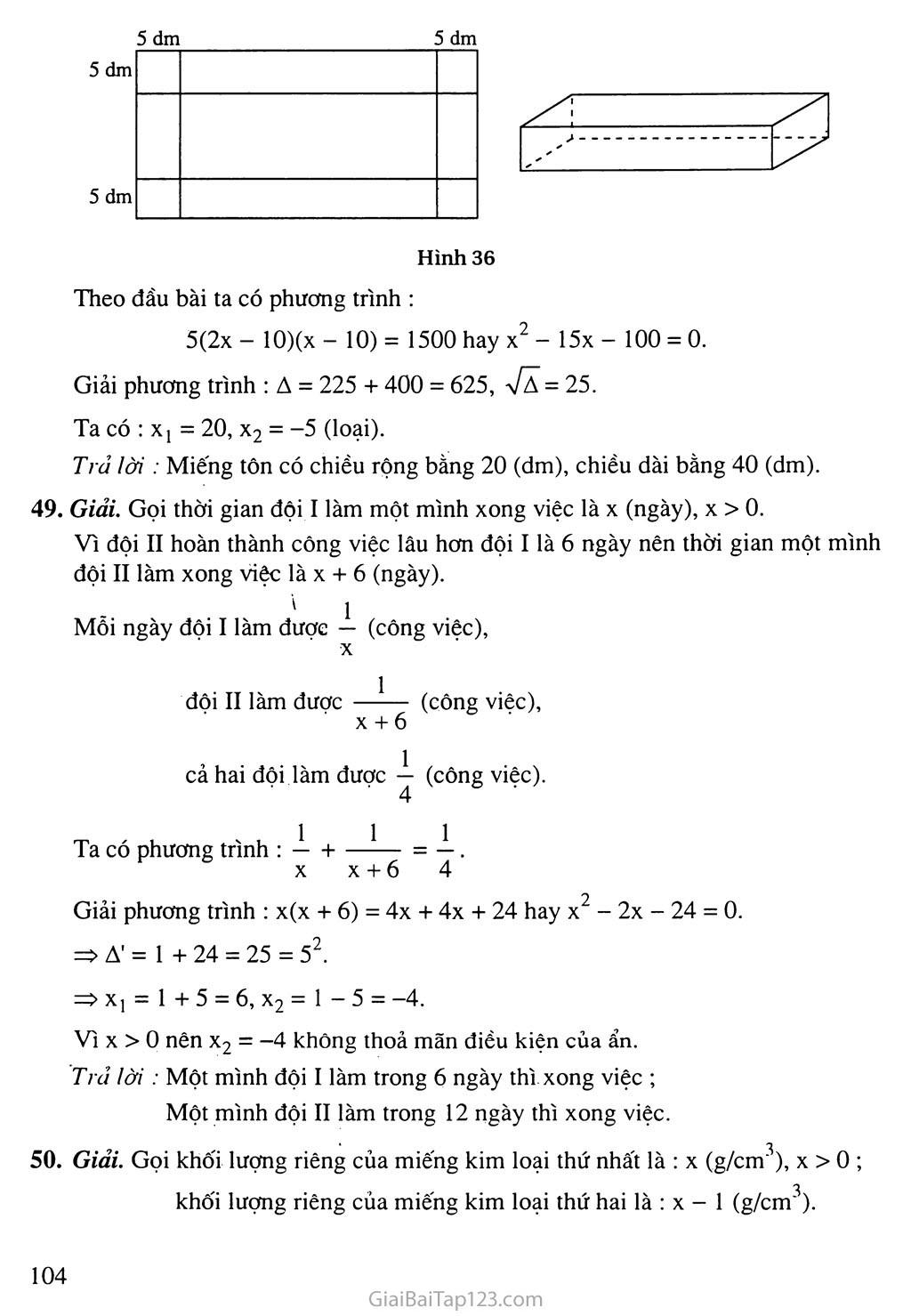 Bài 8. Giải bài toán bằng cách lập phương trình trang 6