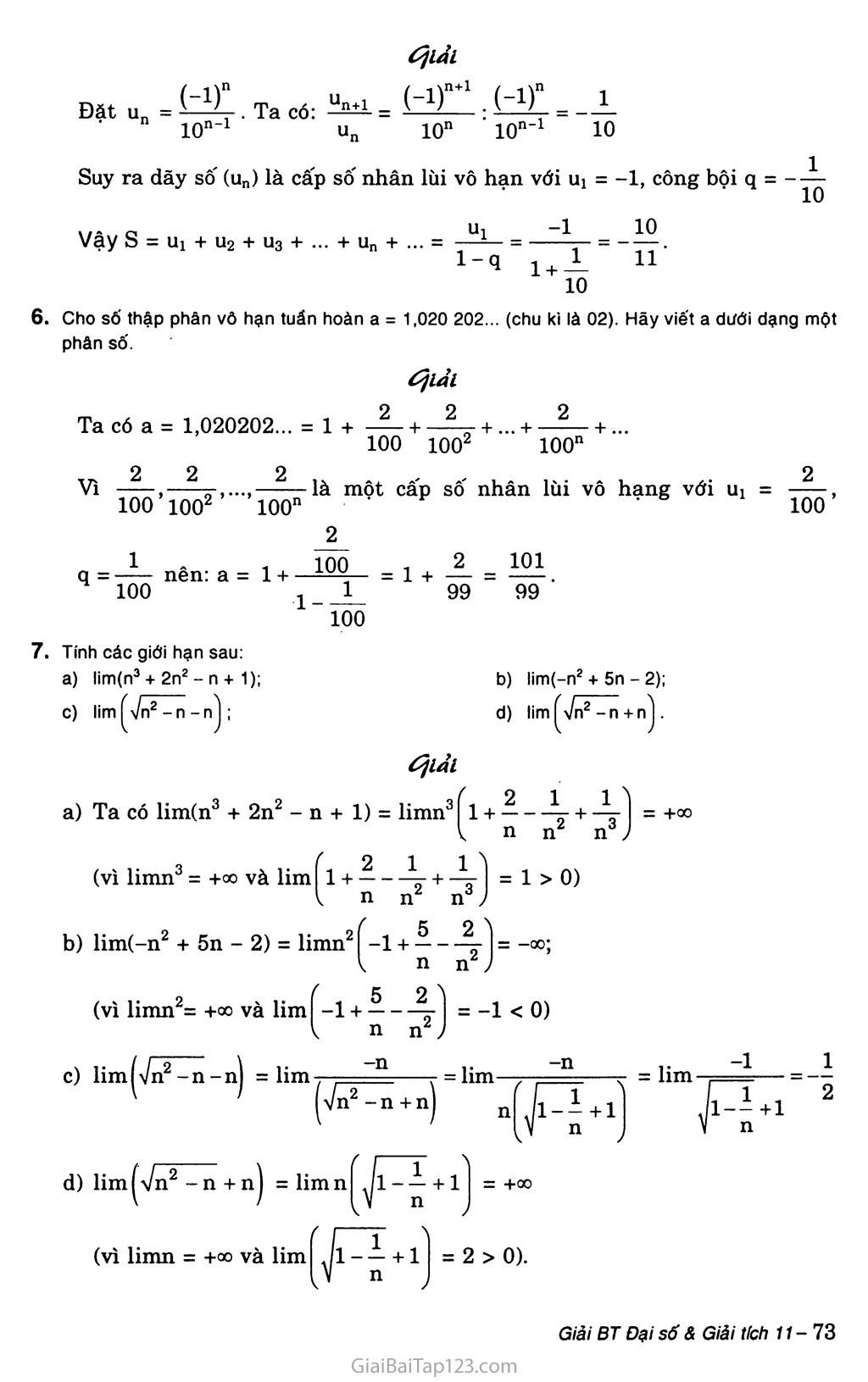 Bài 1. Giới hạn của dãy số trang 5