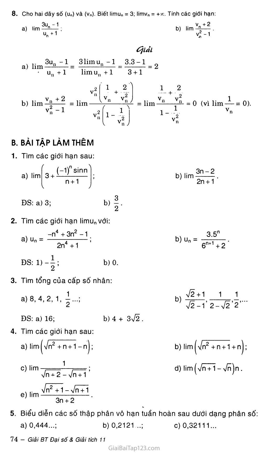 Bài 1. Giới hạn của dãy số trang 6