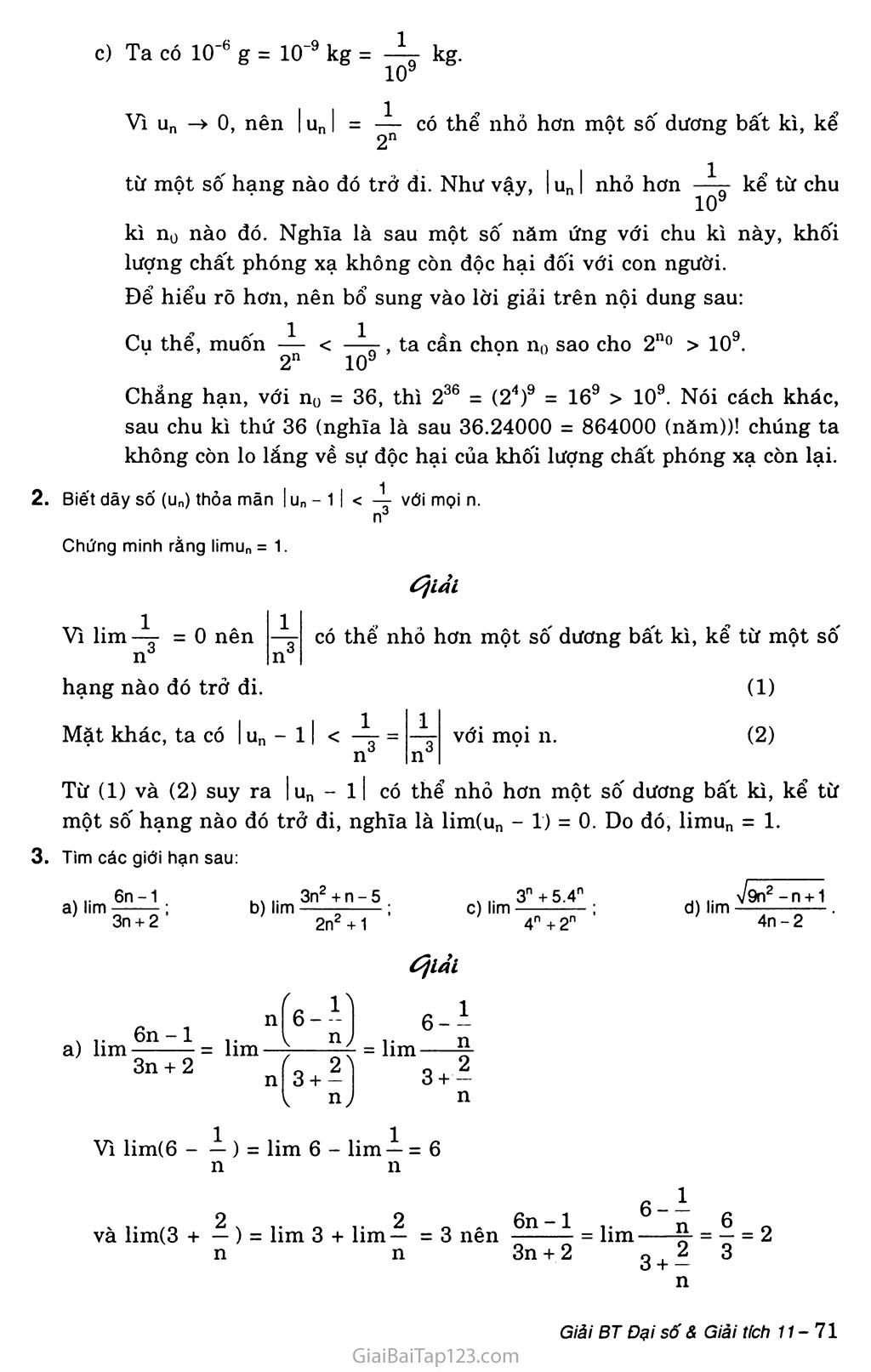 Bài 1. Giới hạn của dãy số trang 3
