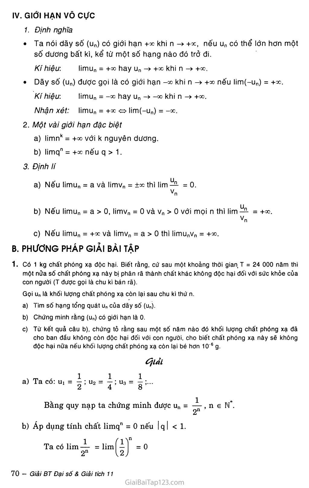 Bài 1. Giới hạn của dãy số trang 2