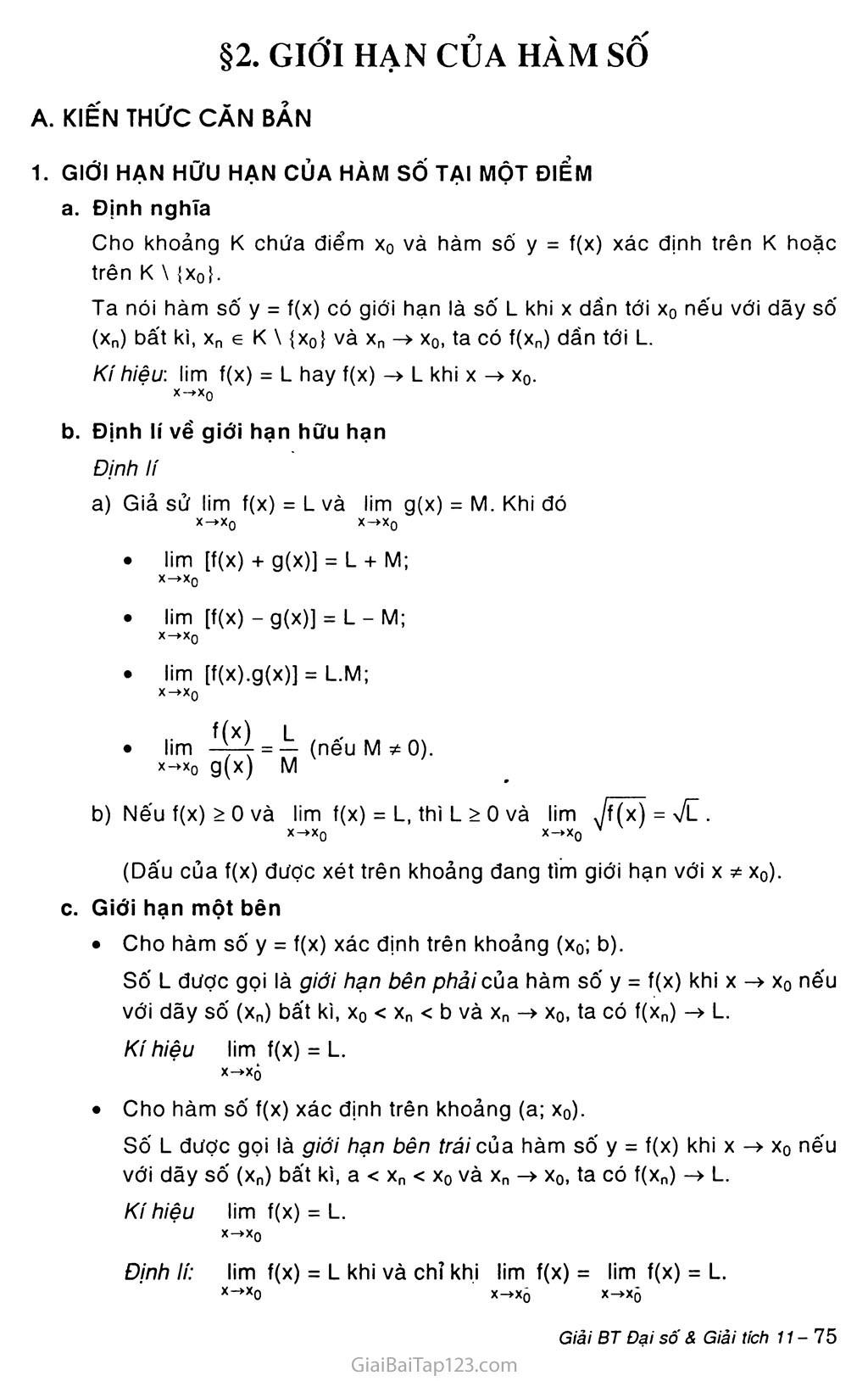 Bài 2. Giới hạn của hàm số trang 1