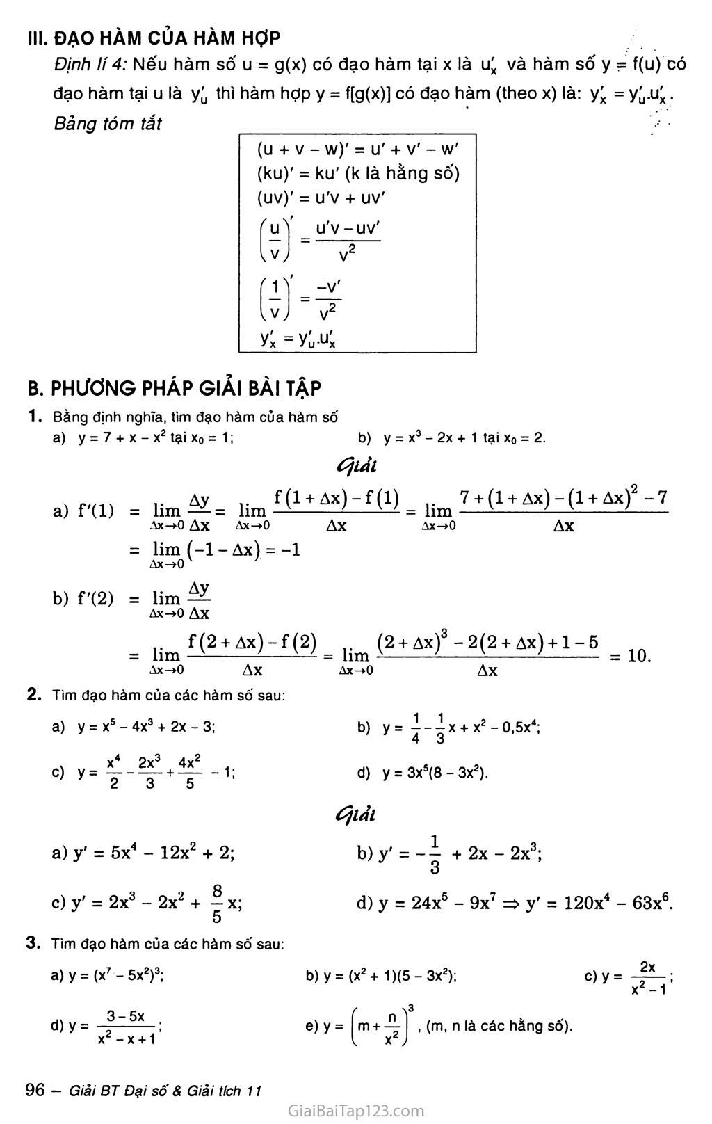 Bài 2. Quy tắc tính đạo hàm trang 2