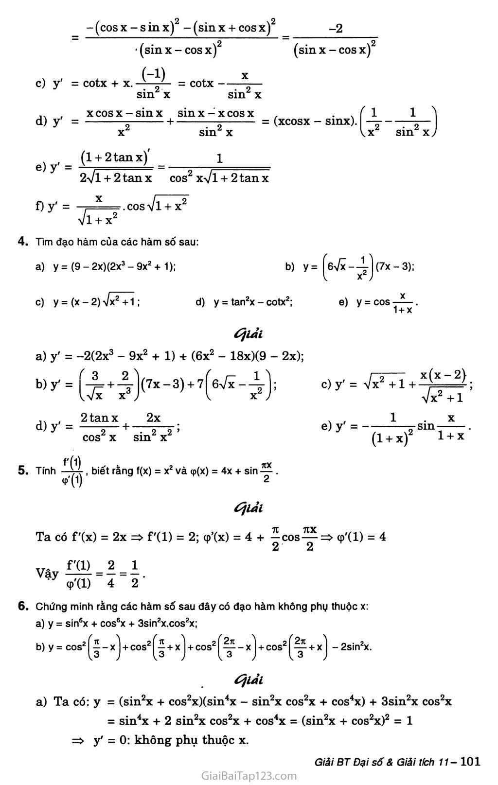 Bài 3. Đạo hàm của hàm số lượng giác trang 4
