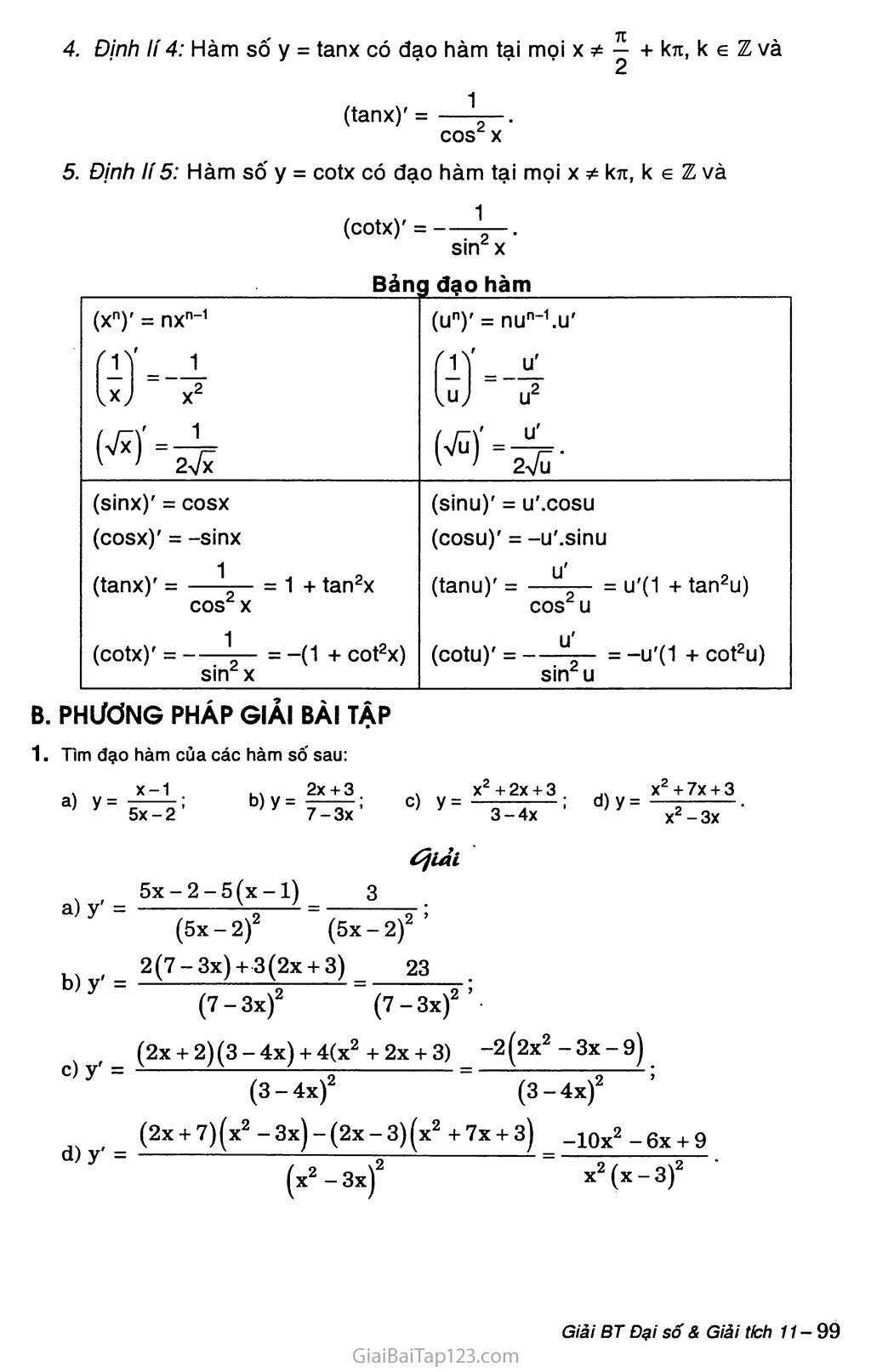 Bài 3. Đạo hàm của hàm số lượng giác trang 2