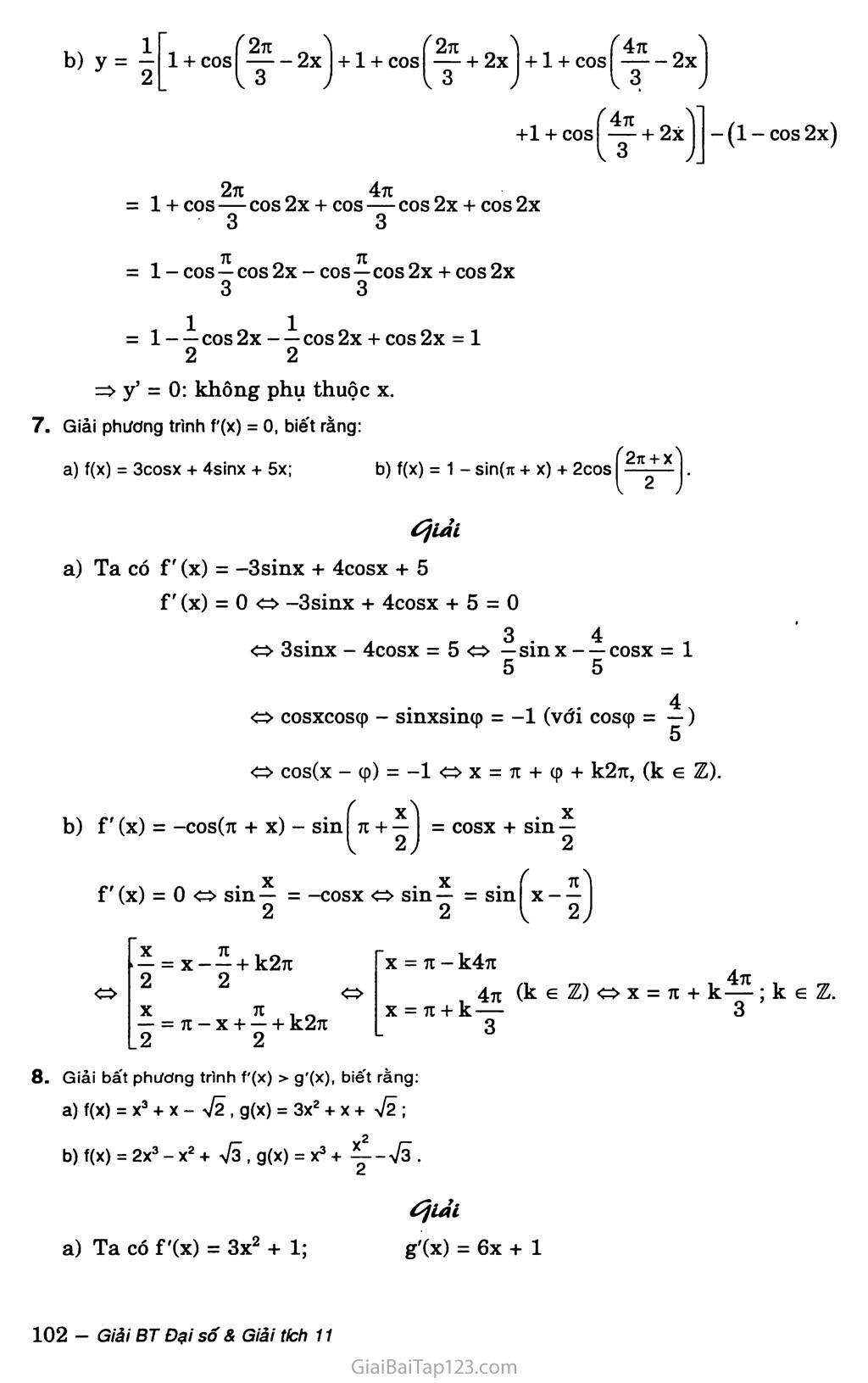 Bài 3. Đạo hàm của hàm số lượng giác trang 5