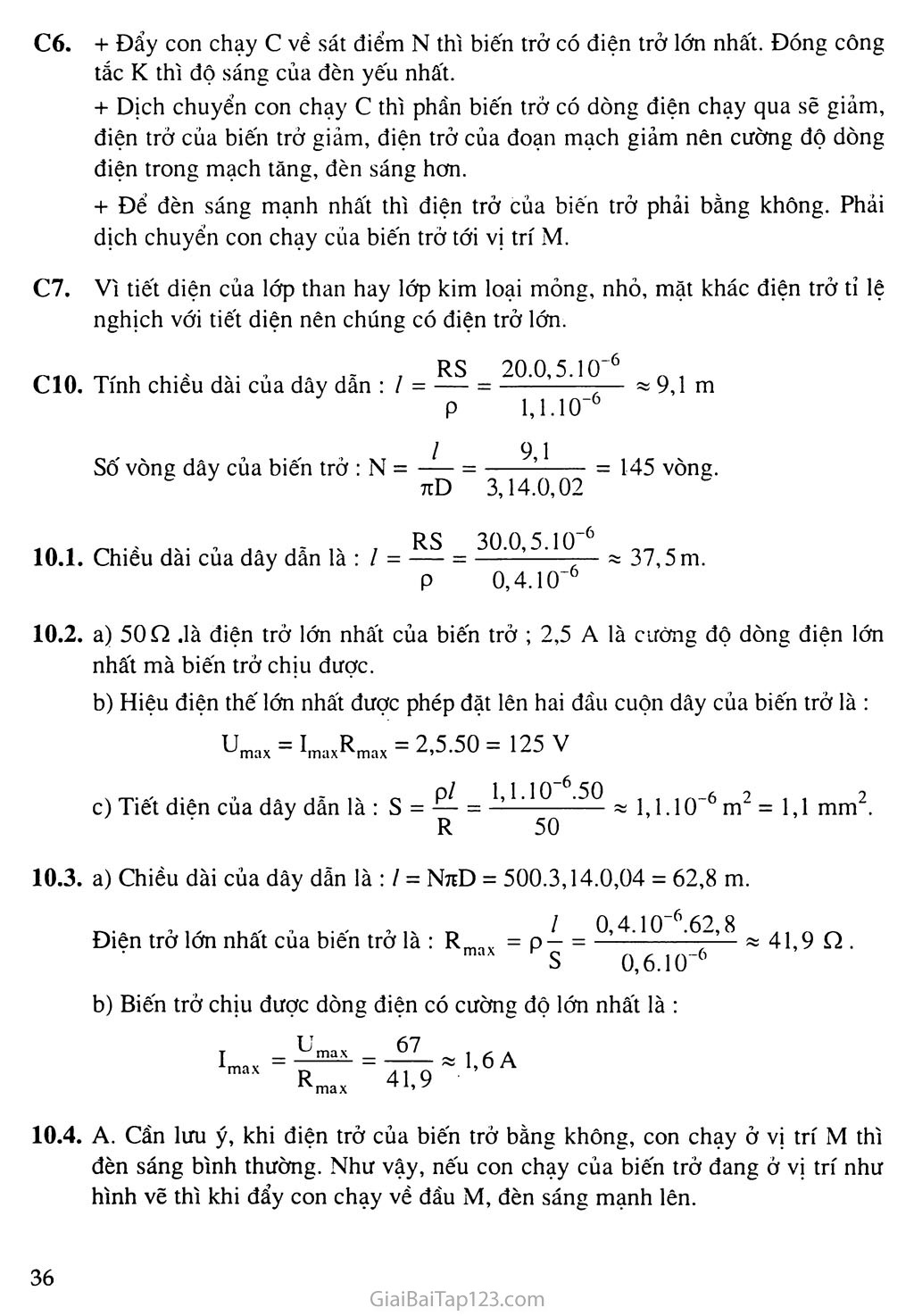 Bài 10: Biến trở - Điện trở dùng trong kĩ thuật trang 2