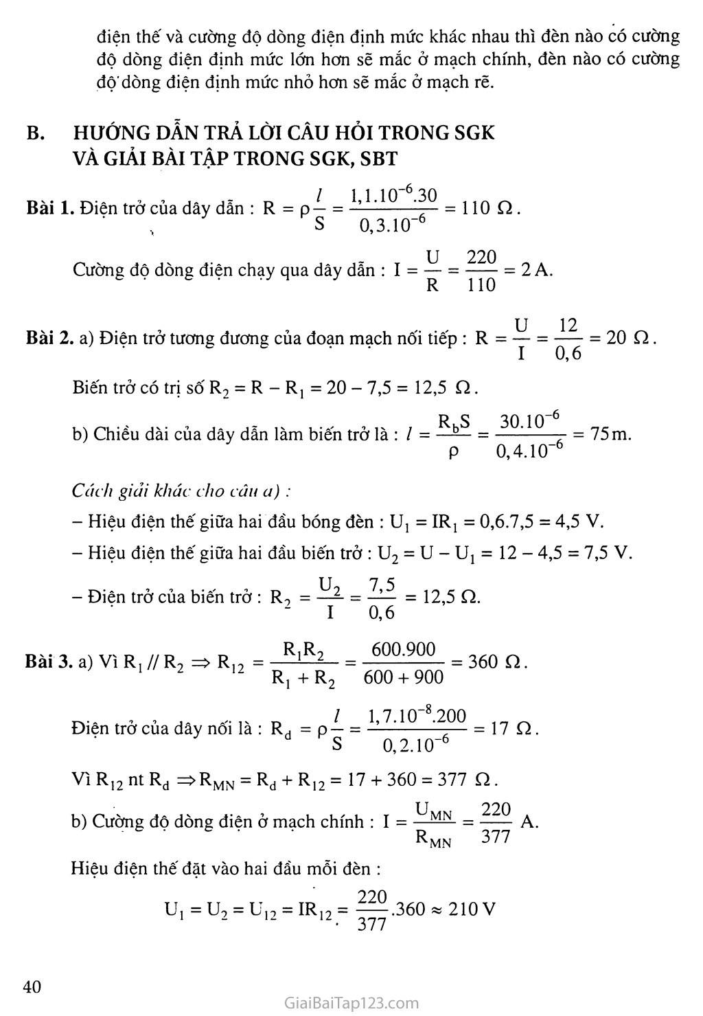 Bài 11: Bài tập vận dụng định luật Ôm và công thức tính điện trở của dây dẫn trang 2