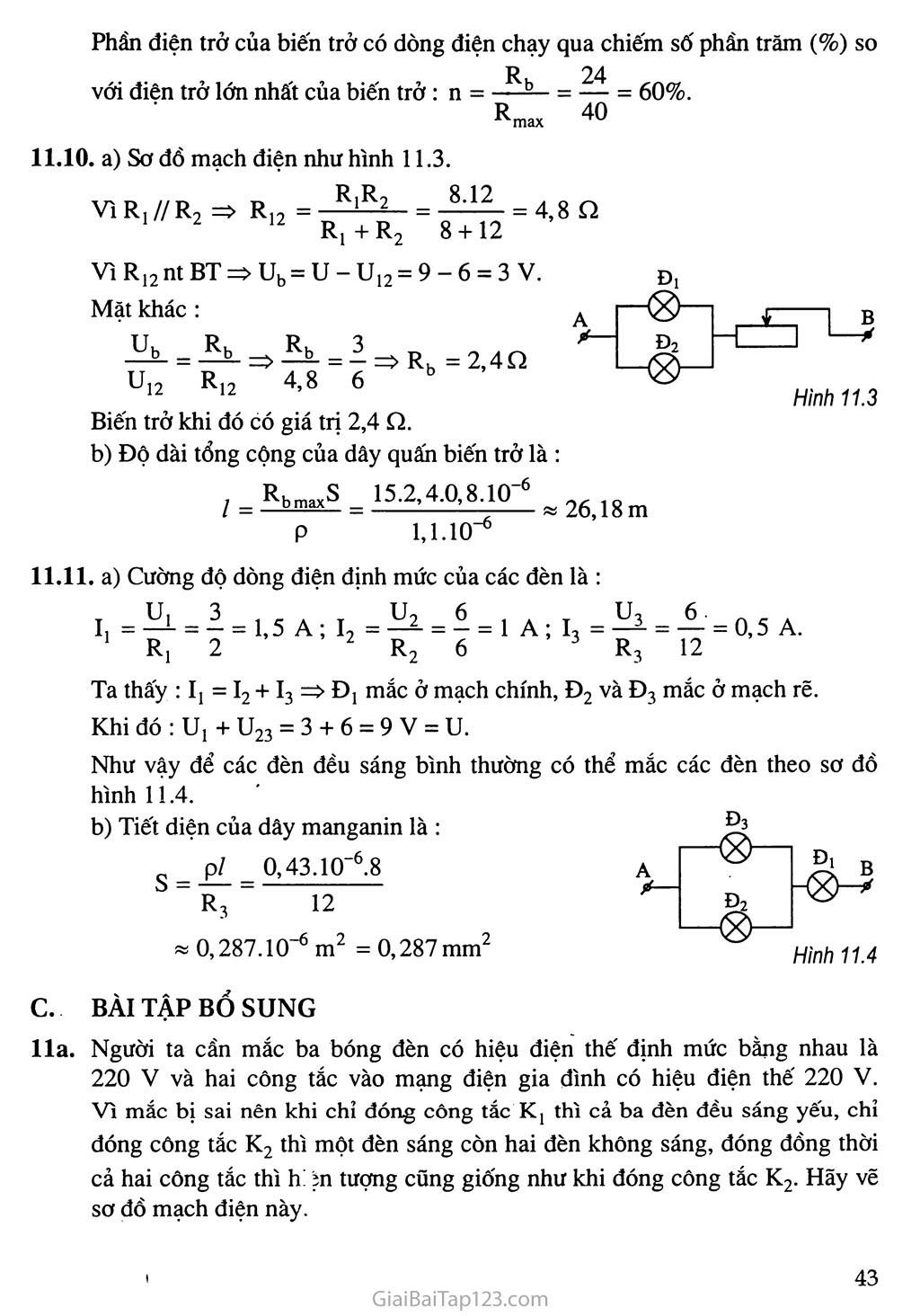 Bài 11: Bài tập vận dụng định luật Ôm và công thức tính điện trở của dây dẫn trang 5