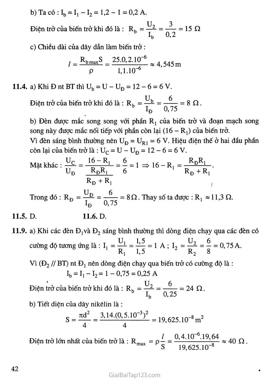 Bài 11: Bài tập vận dụng định luật Ôm và công thức tính điện trở của dây dẫn trang 4