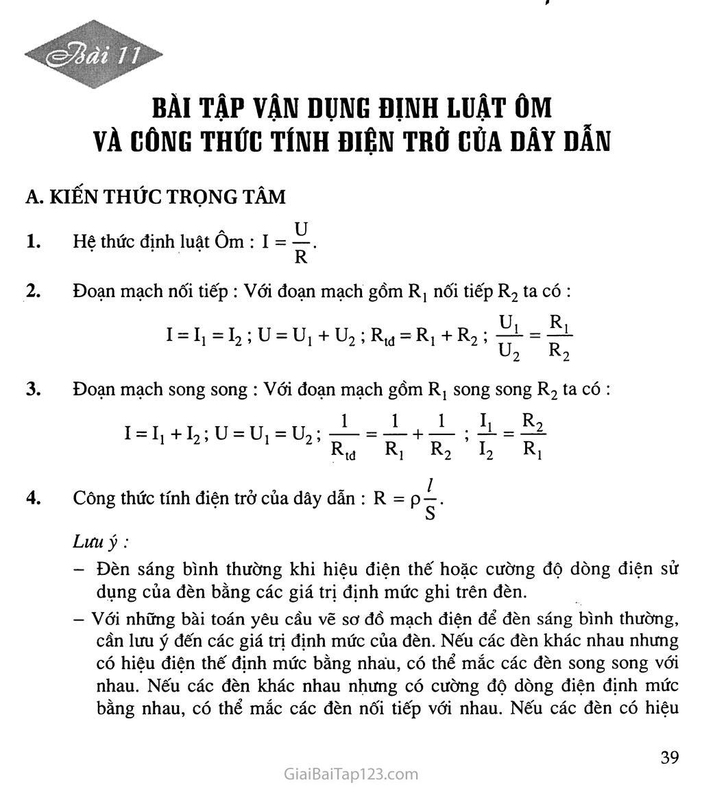 Bài 11: Bài tập vận dụng định luật Ôm và công thức tính điện trở của dây dẫn trang 1