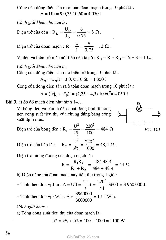 Bài 14: Bài tập về công suất điện và điện năng sử dụng trang 3