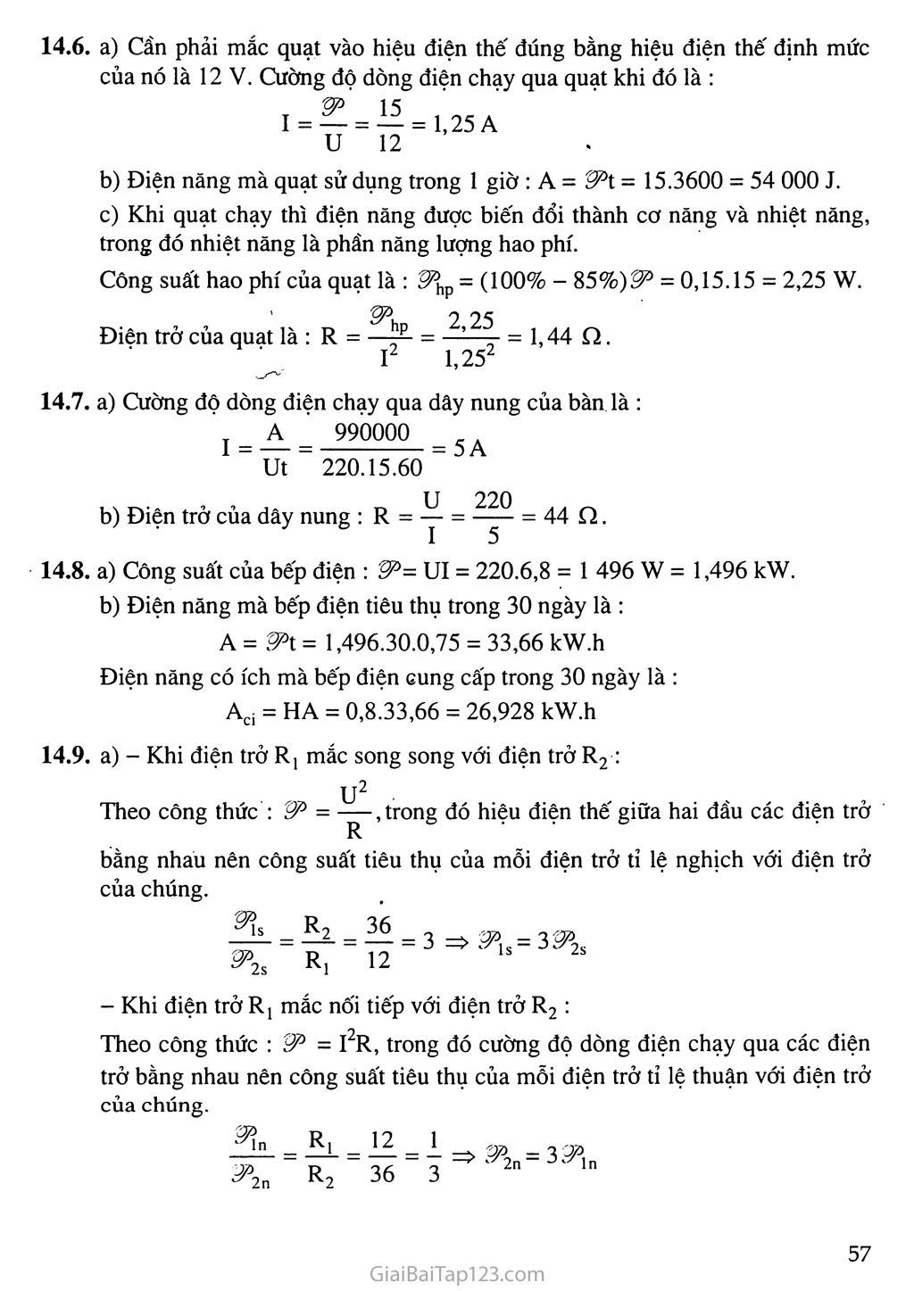Bài 14: Bài tập về công suất điện và điện năng sử dụng trang 6