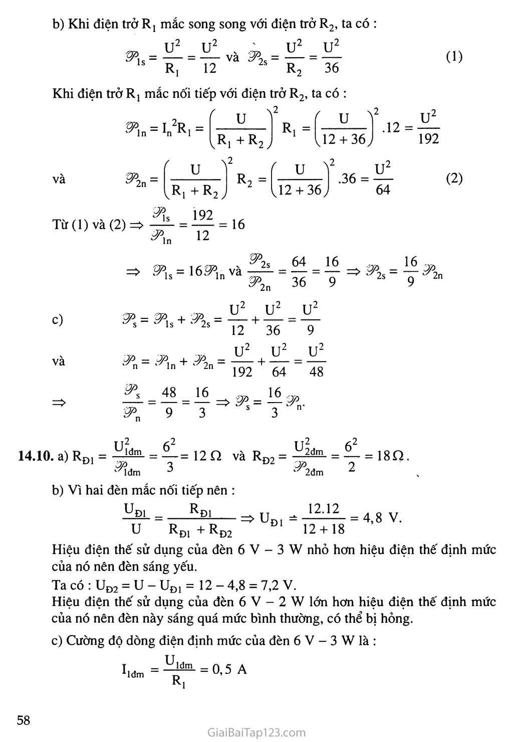 Bài 14: Bài tập về công suất điện và điện năng sử dụng trang 7