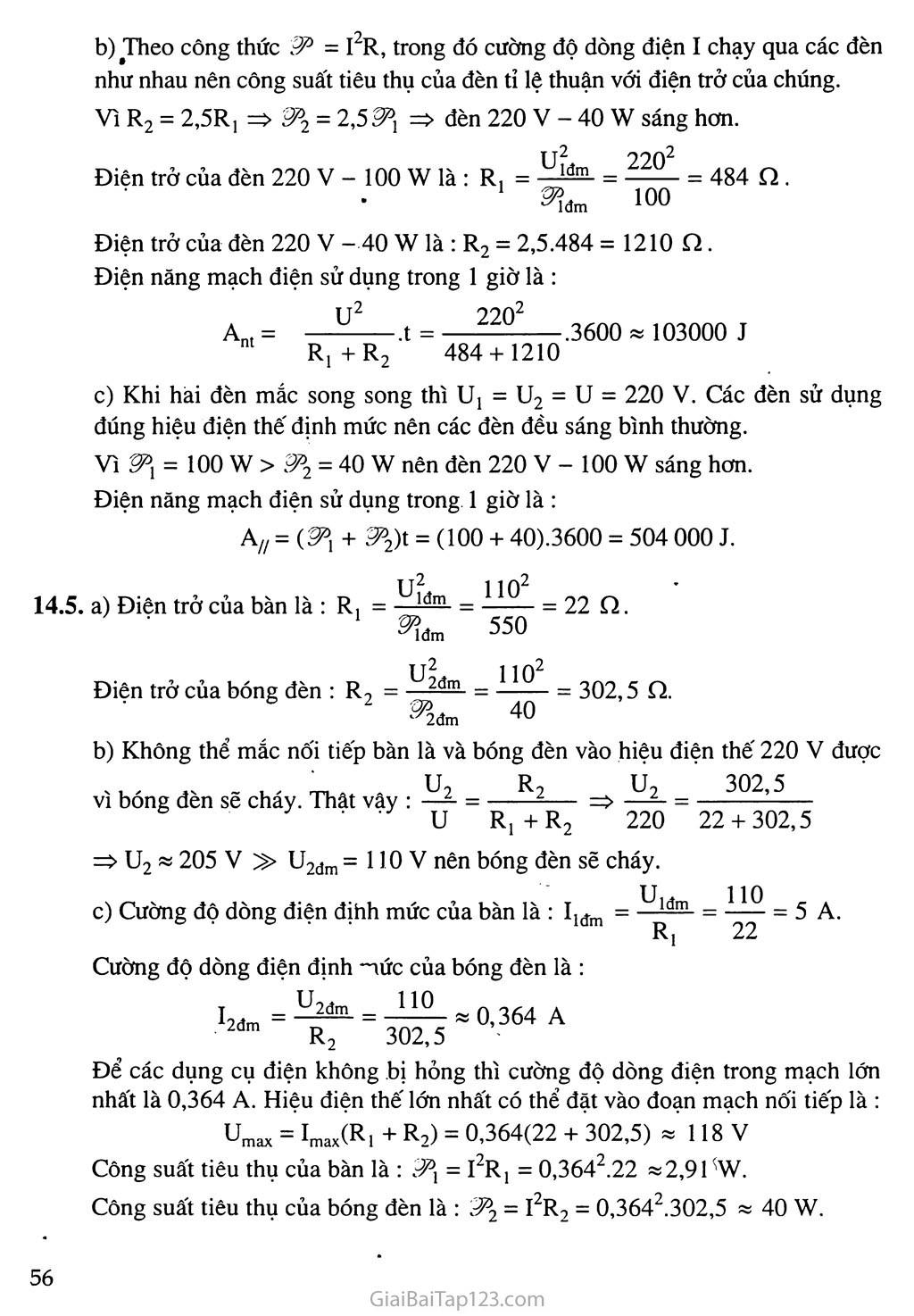 Bài 14: Bài tập về công suất điện và điện năng sử dụng trang 5