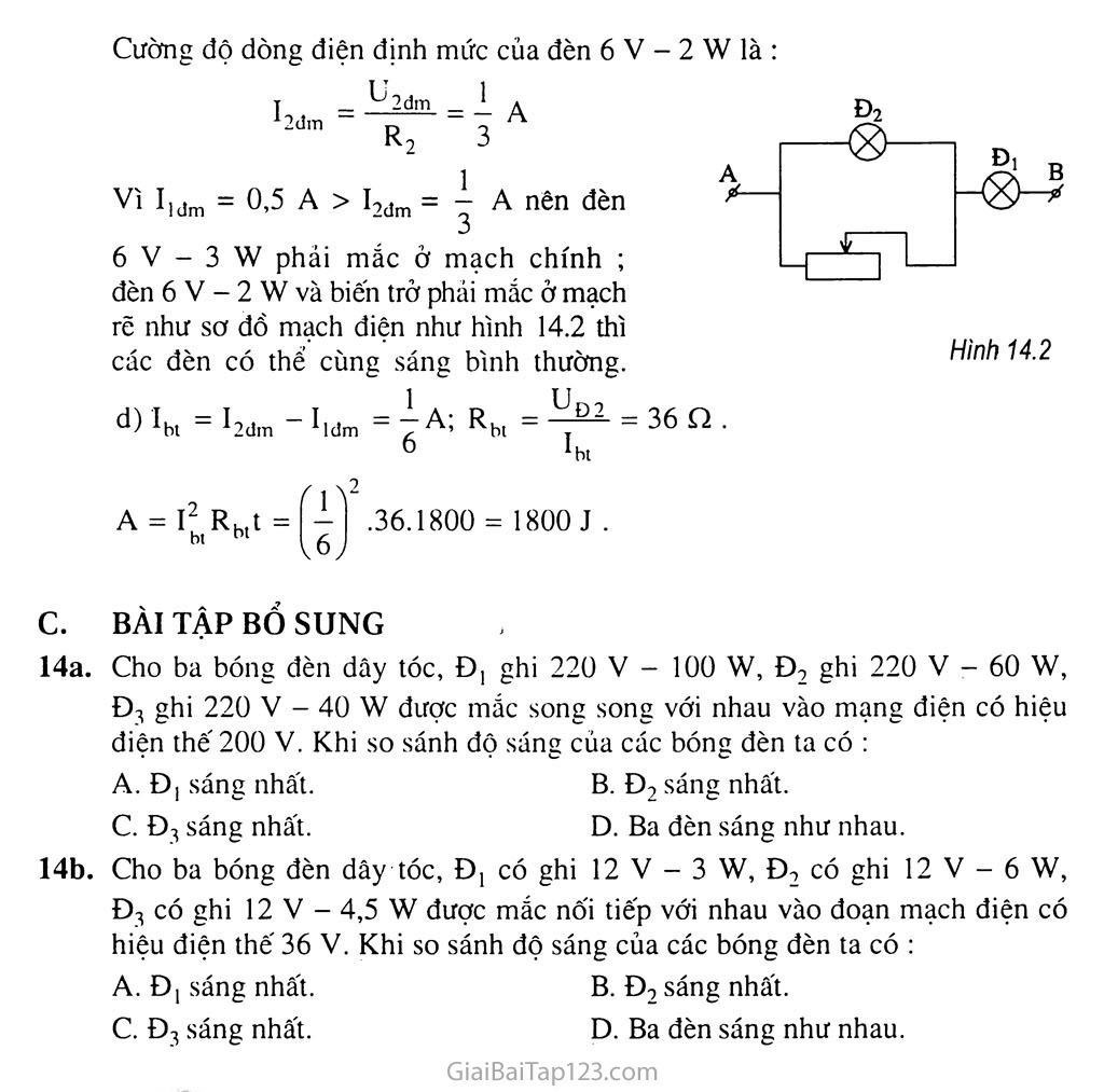 Bài 14: Bài tập về công suất điện và điện năng sử dụng trang 8