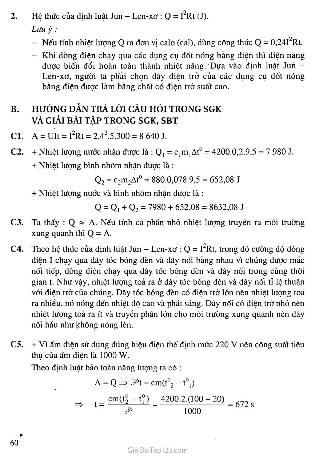 Bài 16 - 17: Định luật Jun - Len-xơ. Bài tập vận dụng định luật Jun - Len-xơ trang 2