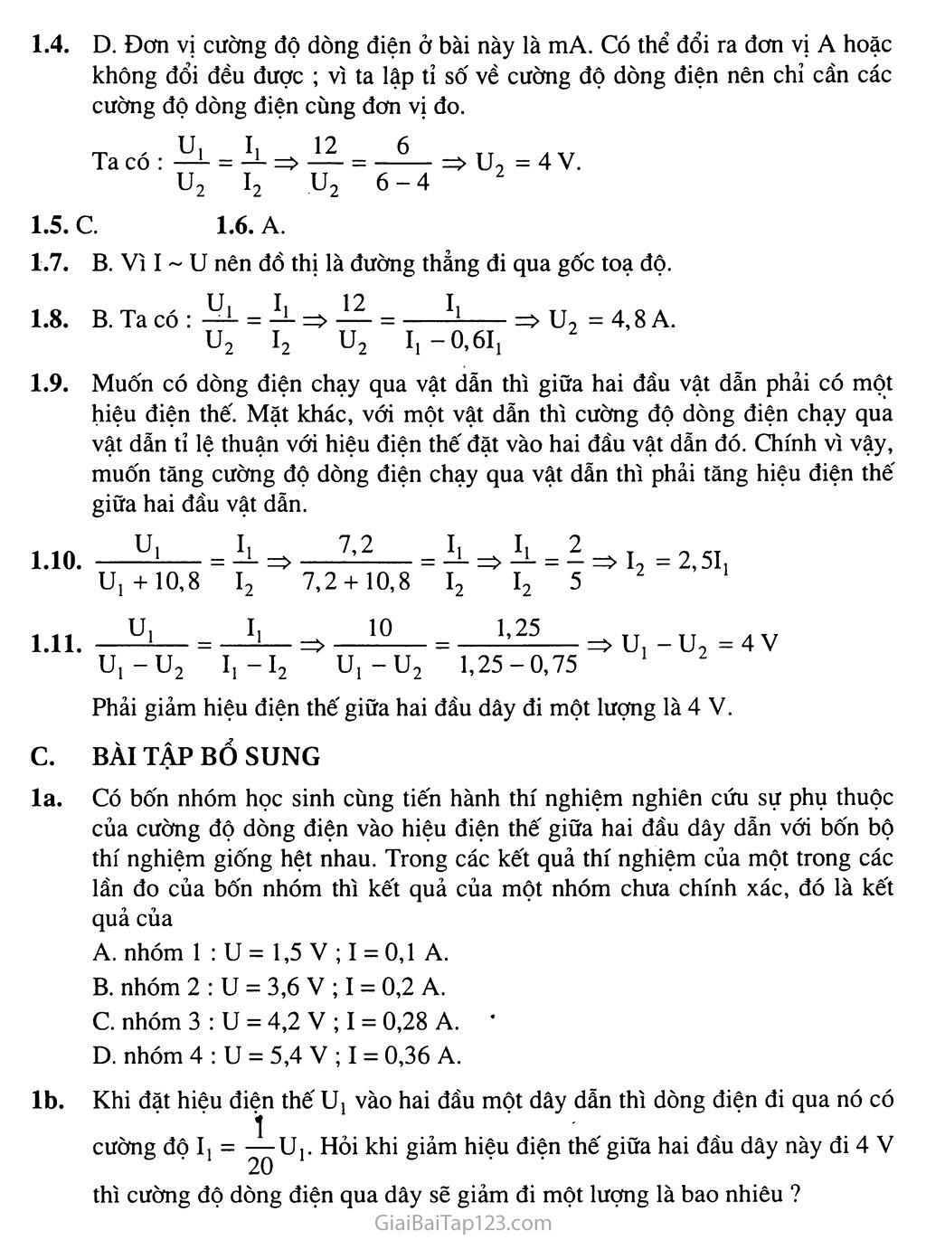 Bài 1: Sự phụ thuộc của cường độ dòng điện vào hiện điện thế giữa hai đầu dây dẫn trang 3