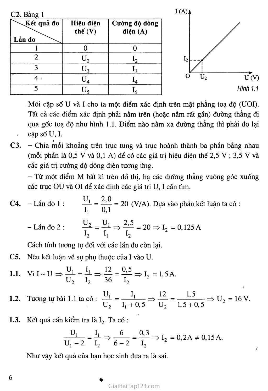 Bài 1: Sự phụ thuộc của cường độ dòng điện vào hiện điện thế giữa hai đầu dây dẫn trang 2