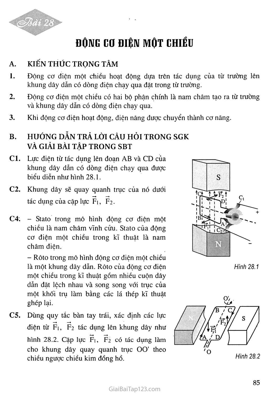 Bài 28: Động cơ điện một chiều trang 1