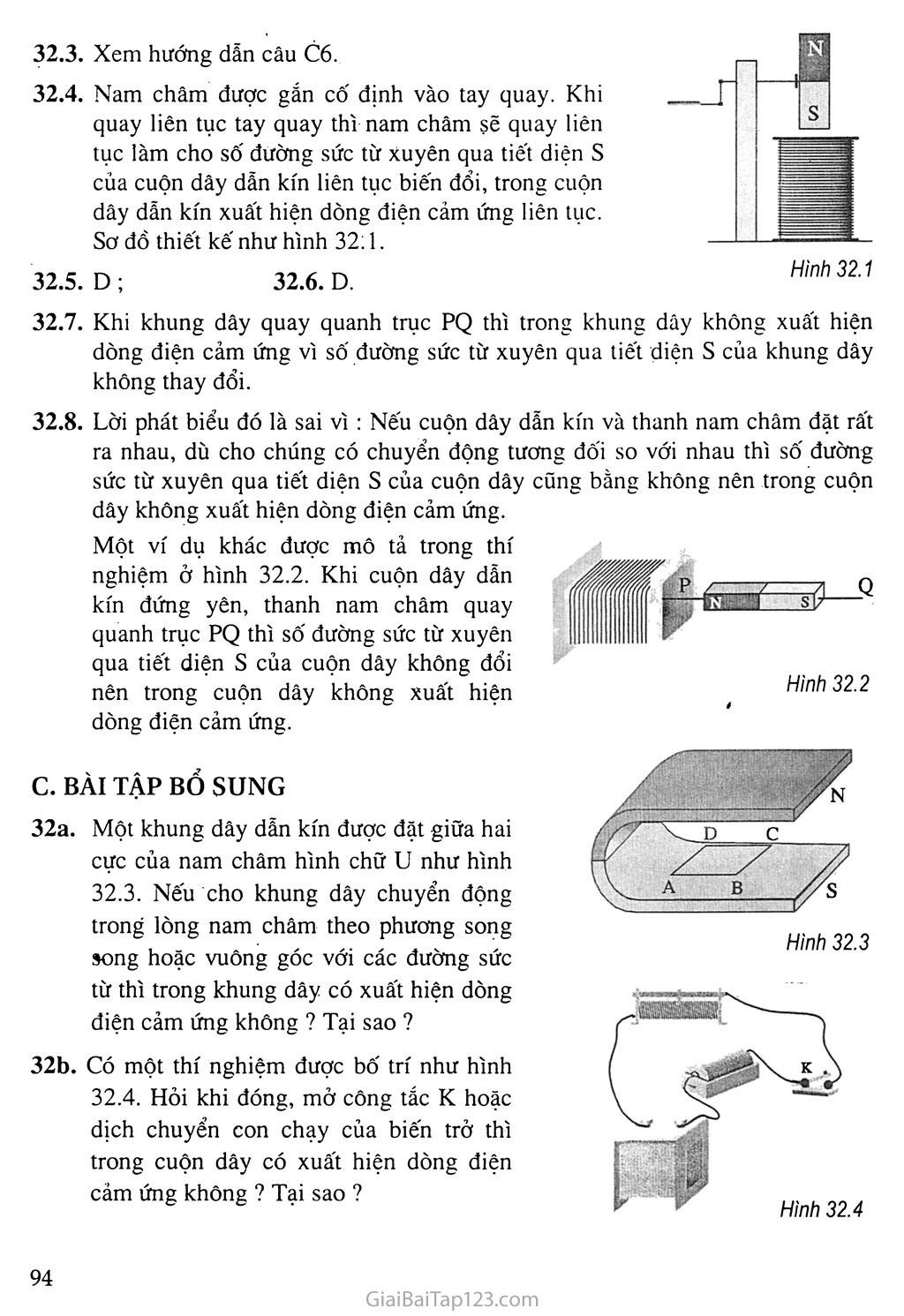Bài 32: Điều kiện xuất hiện dòng điện cảm ứng trang 3