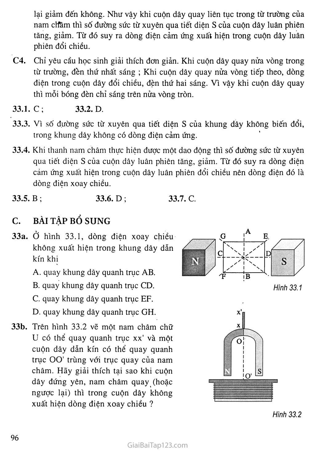 Bài 33: Dòng điện xoay chiều trang 2