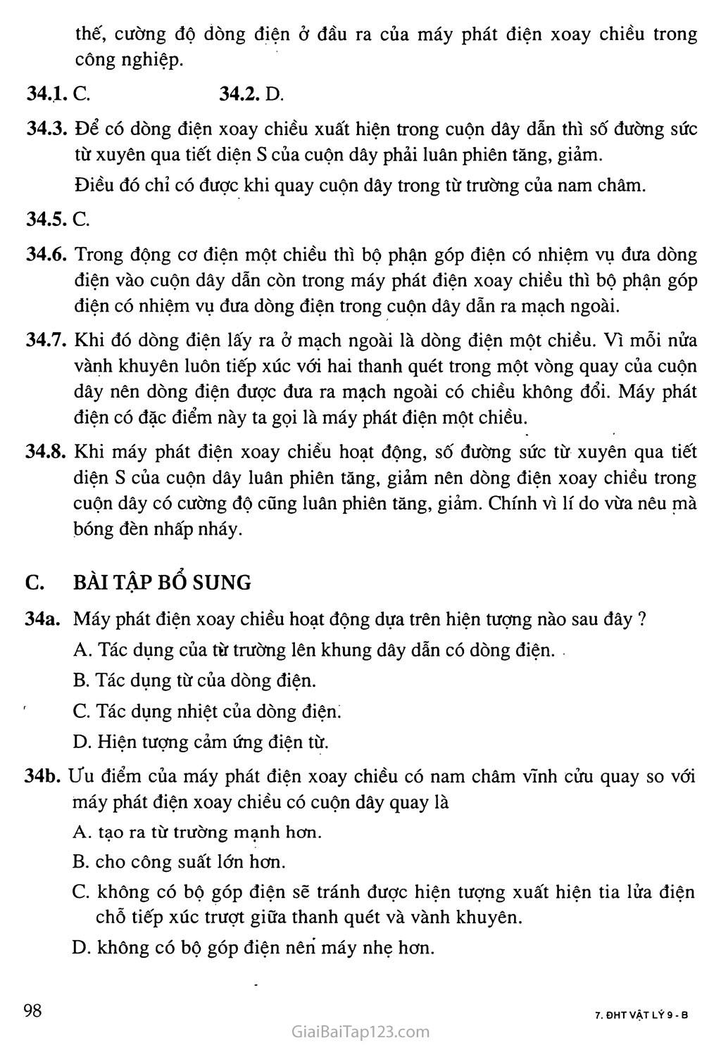 Bài 34: Máy phát điện xoay chiều trang 2