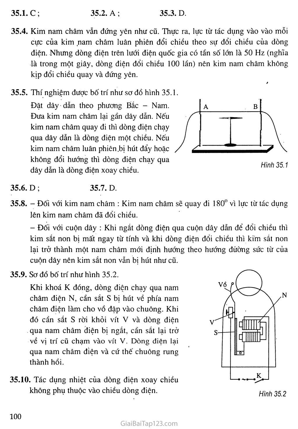 Bài 35: Các tác dụng của dòng điện xoay chiều - Đo cường độ và hiệu điện thế xoay chiều trang 2
