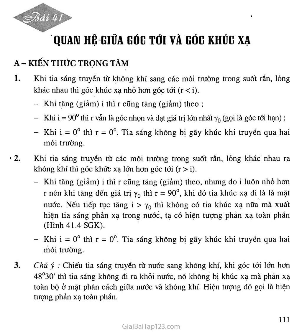 Bài 41: Quan hệ giữa góc tới và góc khúc xạ trang 1