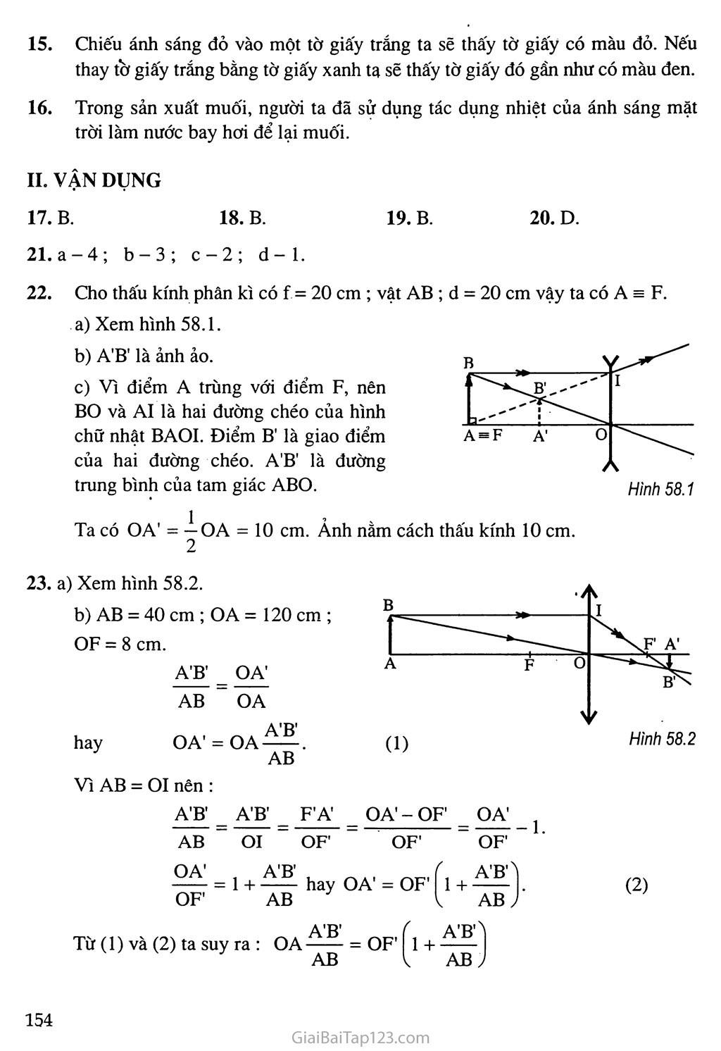 Bài 58: Tổng kết chương III: Quang học trang 3