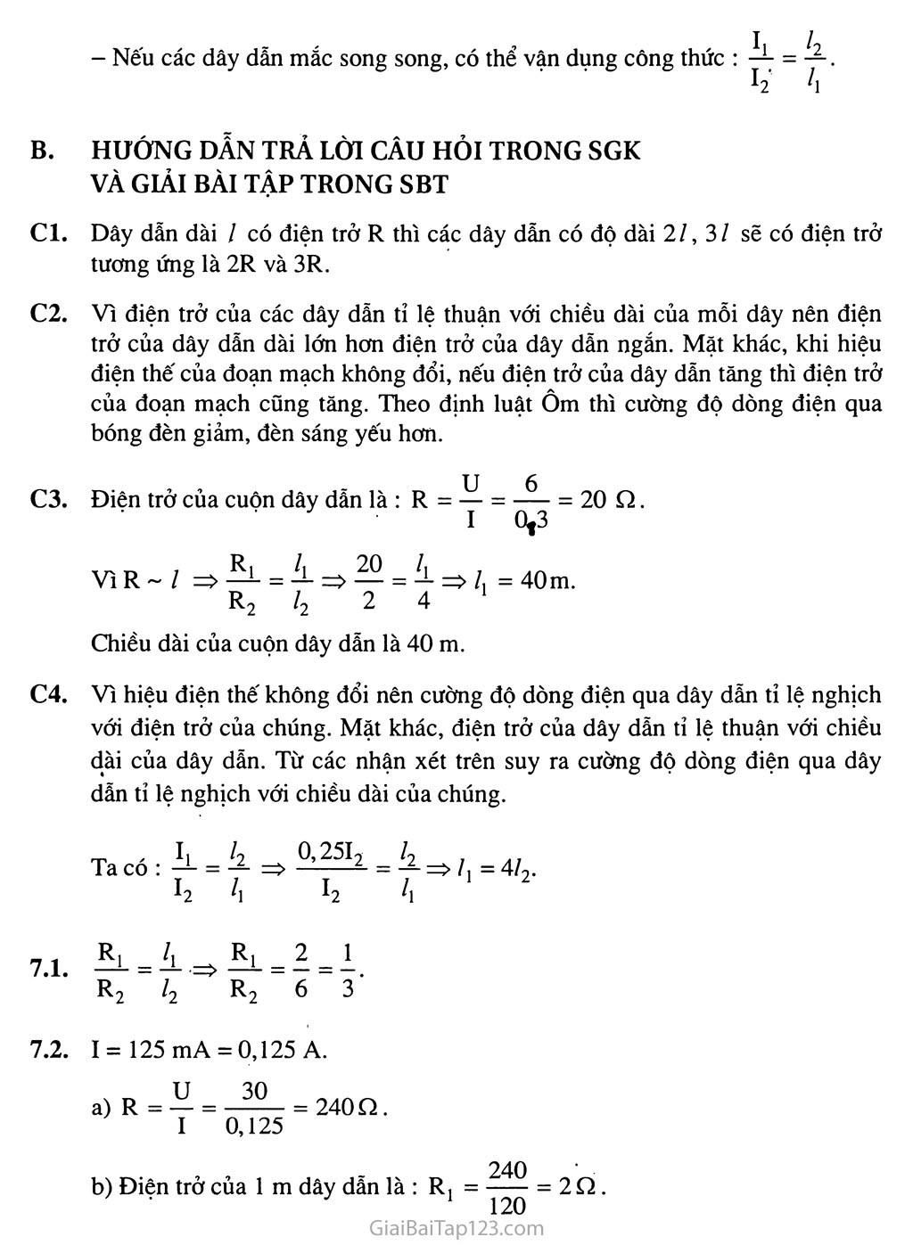 Bài 7: Sự phụ thuộc của điện trở vào chiều dài dây dẫn trang 2