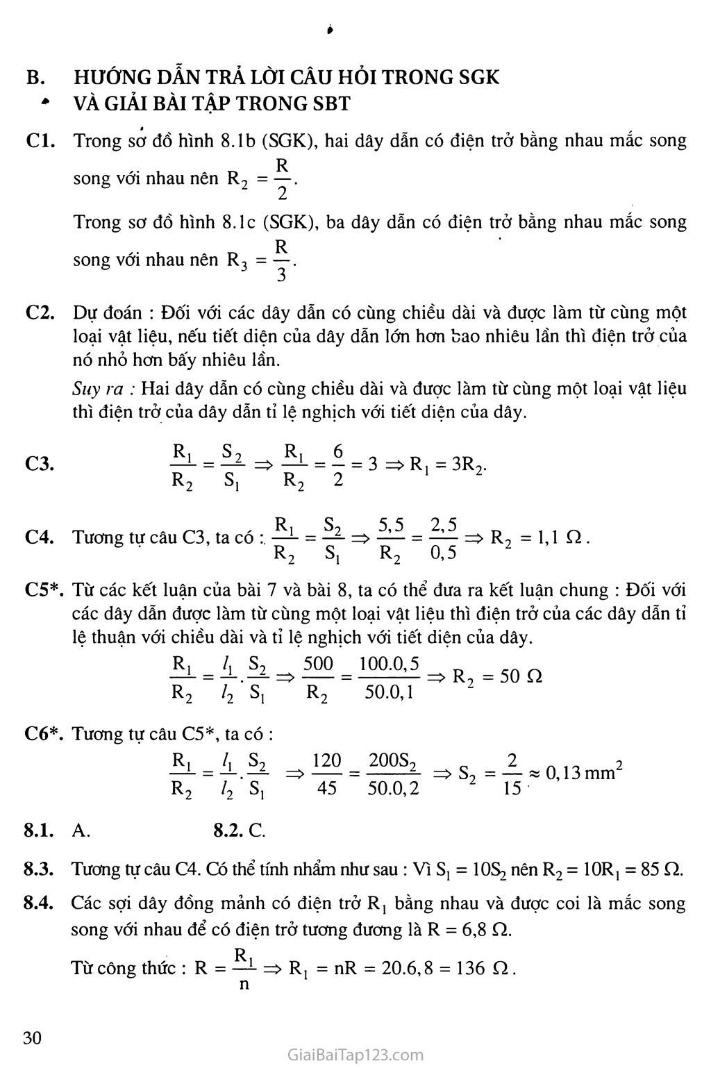 Bài 8: Sự phụ thuộc của điện trở vào tiết diện dây dẫn trang 2
