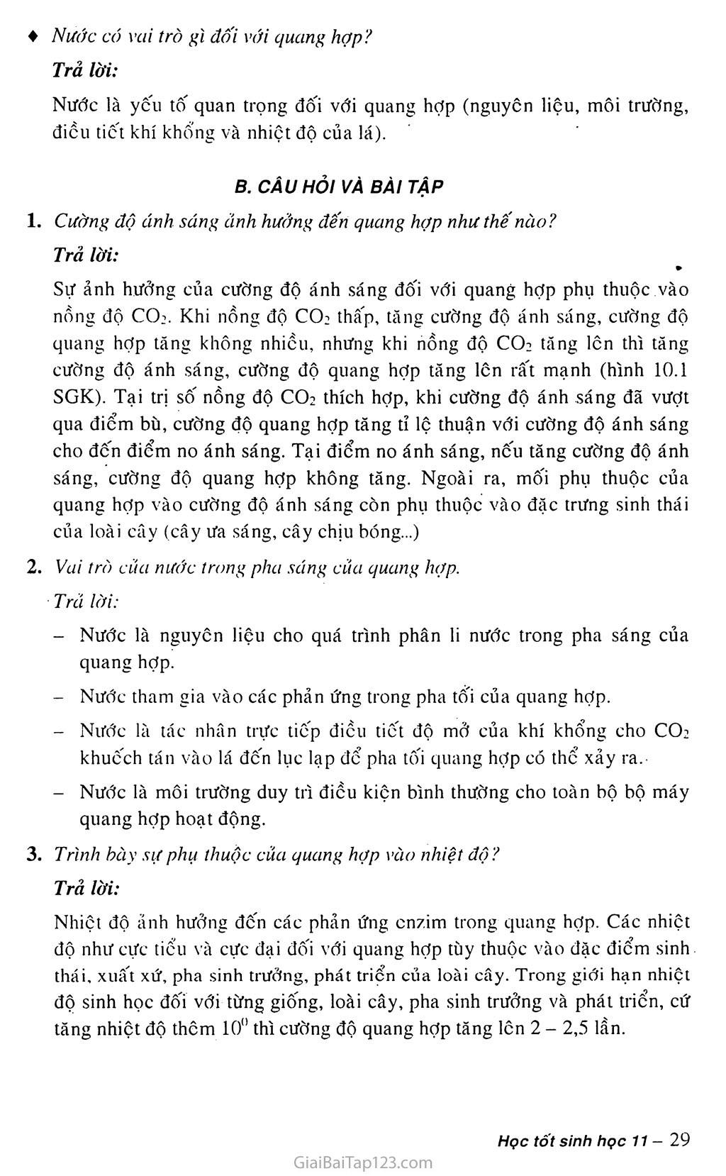 Bài 10. Ảnh hưởng của các nhân tố ngoại cảnh đến quang hợp trang 3