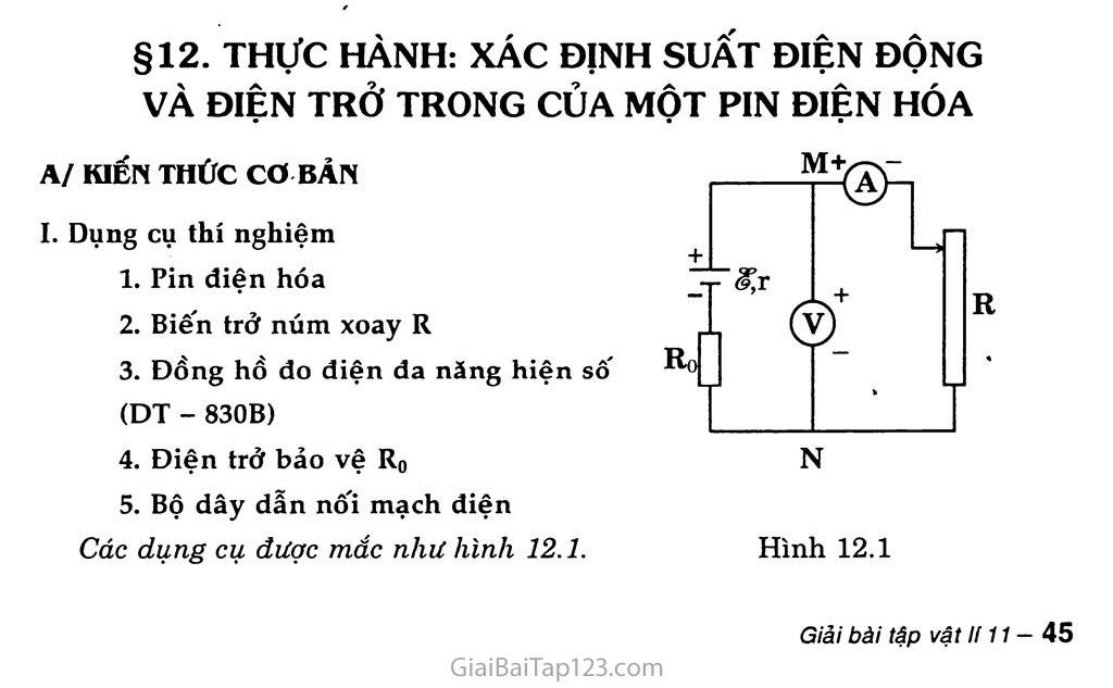 Bài 12: Thực hành: Xác định suất điện động và điện trở trong của một pin điện hóa trang 1