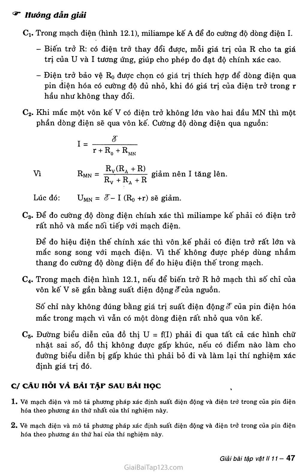 Bài 12: Thực hành: Xác định suất điện động và điện trở trong của một pin điện hóa trang 3