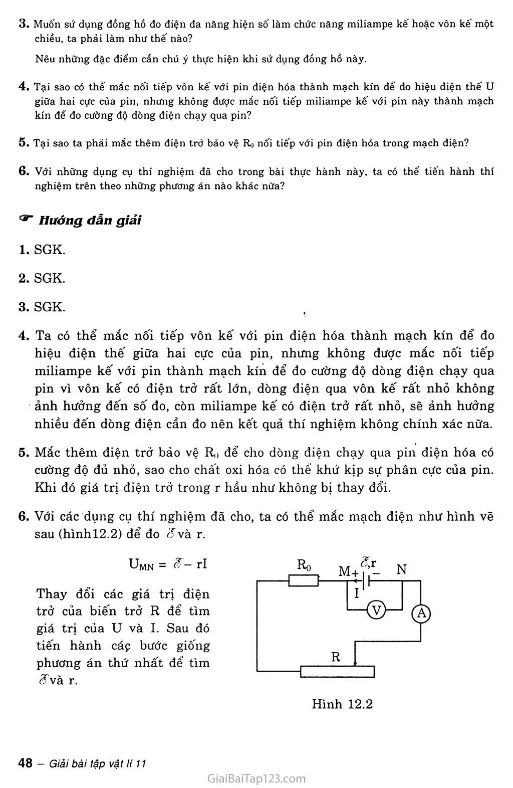 Bài 12: Thực hành: Xác định suất điện động và điện trở trong của một pin điện hóa trang 4