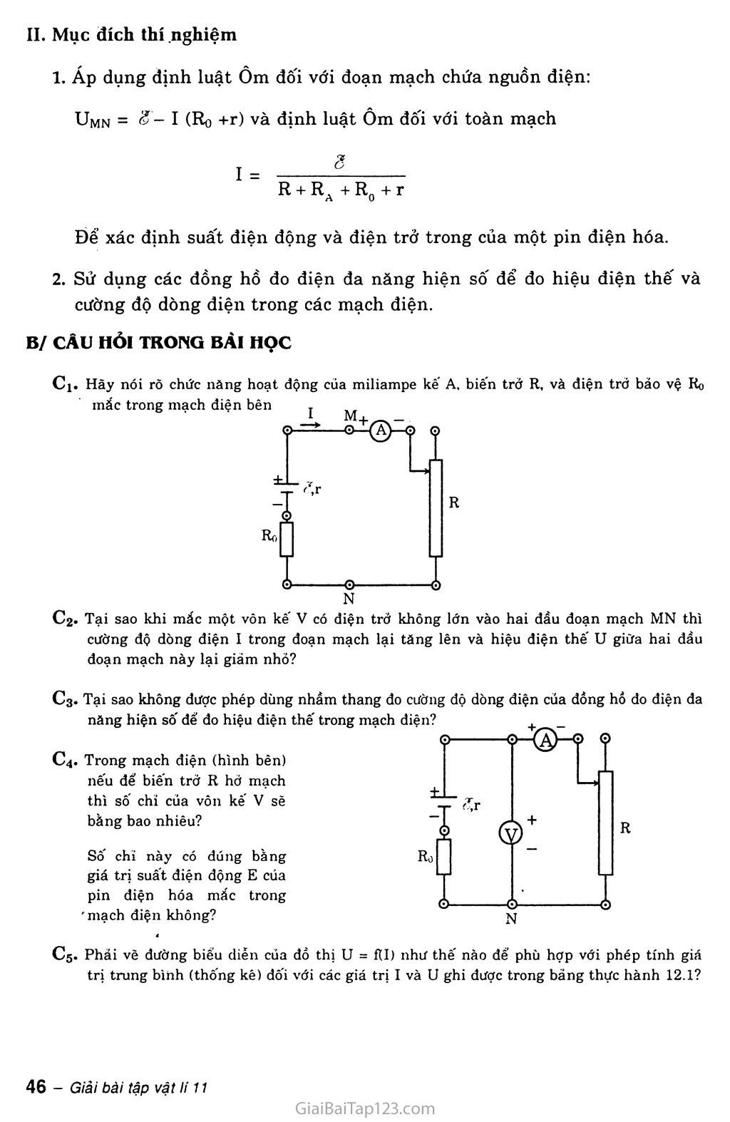 Bài 12: Thực hành: Xác định suất điện động và điện trở trong của một pin điện hóa trang 2